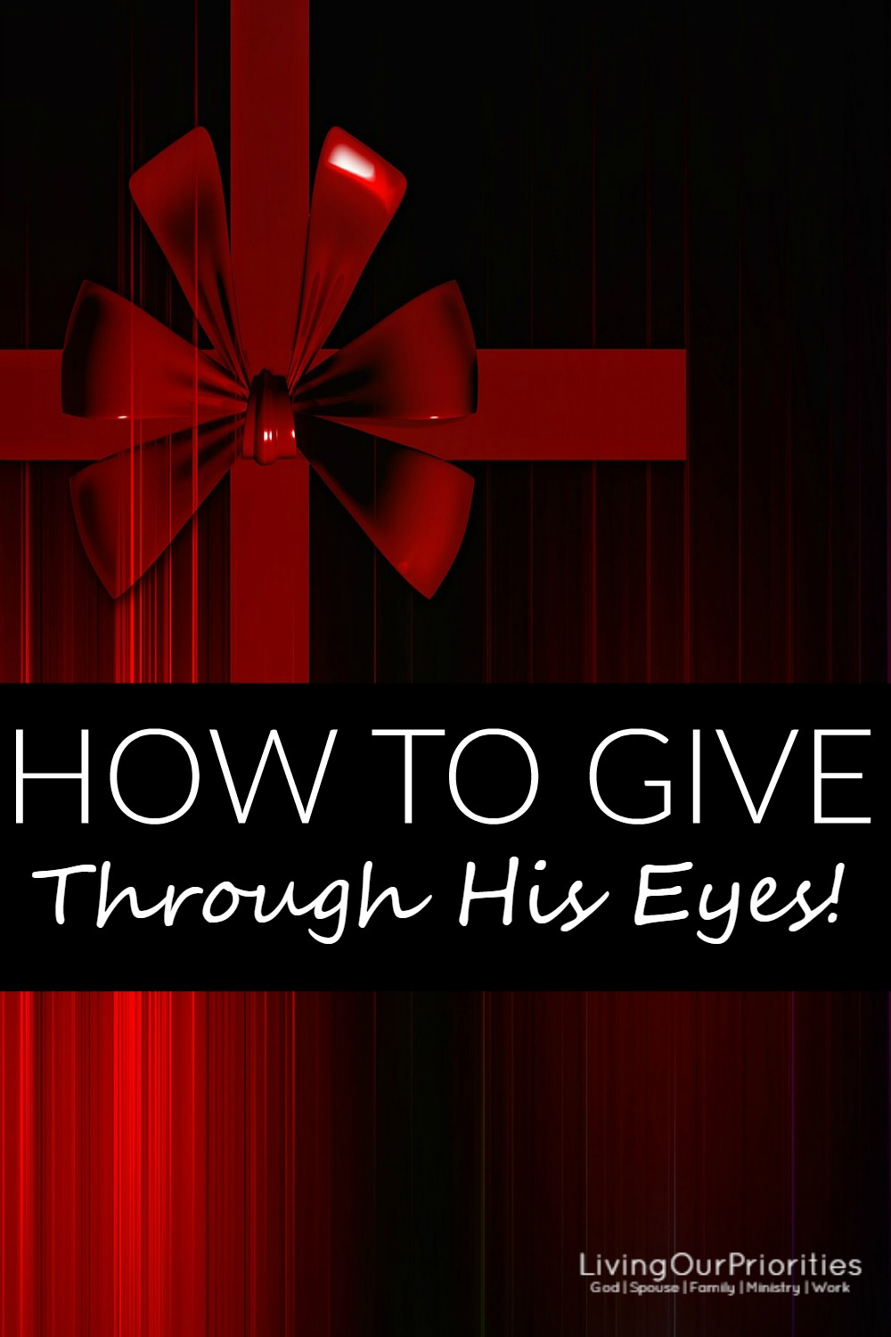 The gap between the haves and have not's is widening. So why don't we as believers change that perception, by giving to others through our Father's eyes.