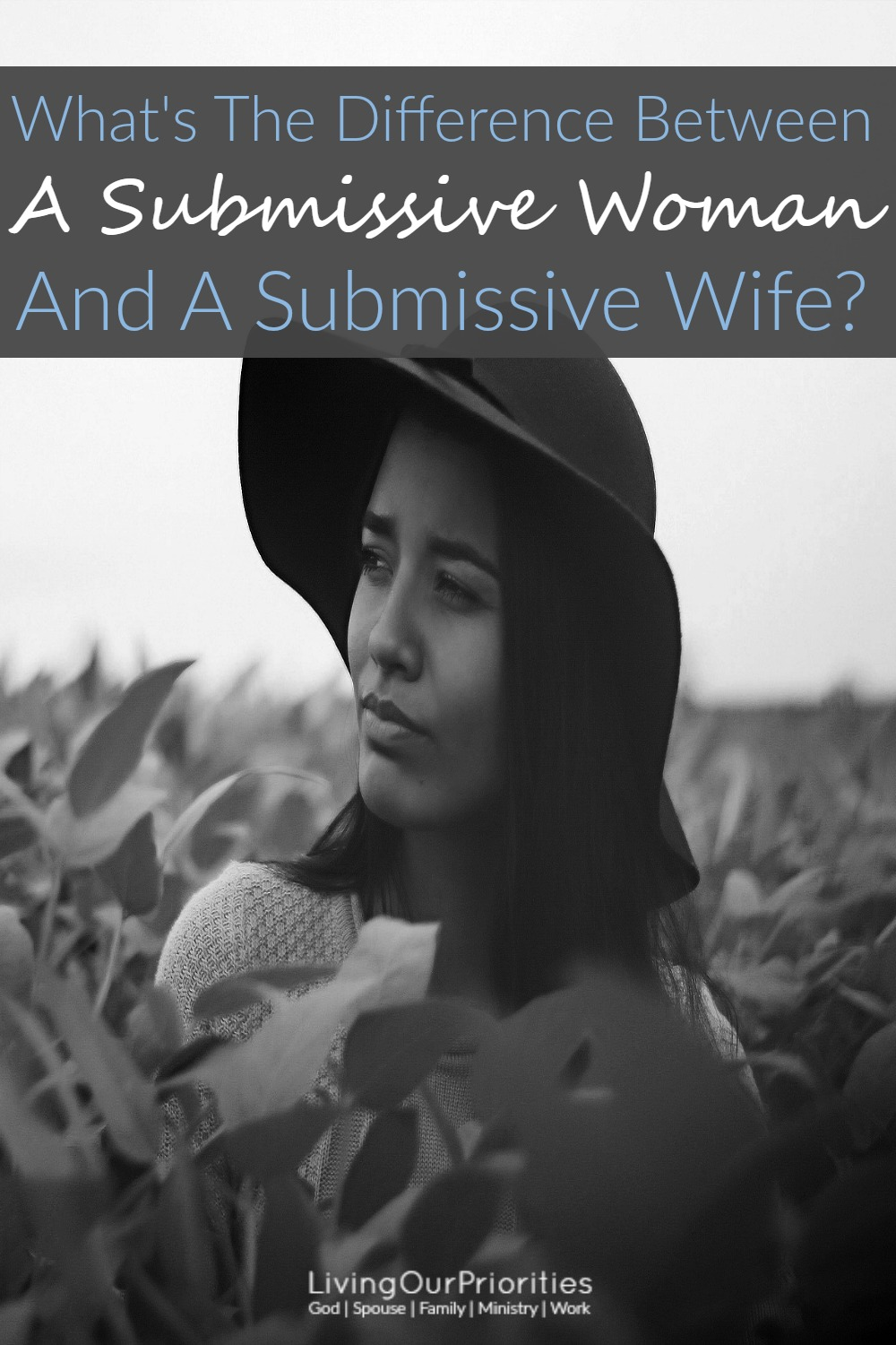 "Recently, I was asked to describe; what it means for a wife to ""submit"" to her husband. I had to stop and think about that for a moment, as when you study scripture, you'll learn there's really no difference between being a submissive woman and a submissive wife. In fact, there's really only a submissive woman!"