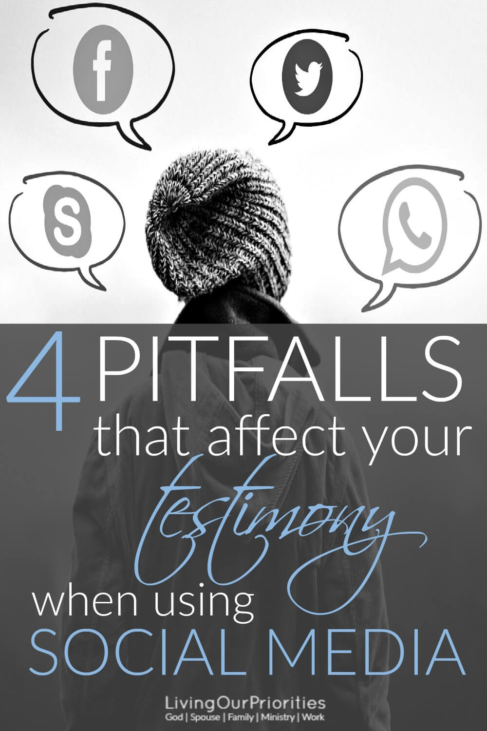 Do your posts, shared images, and comments, reflect your testimony when using social media? Read more to learn 4 pitfalls that affect your testimony on social media. #socialmedia #livingourpriorities #testimony