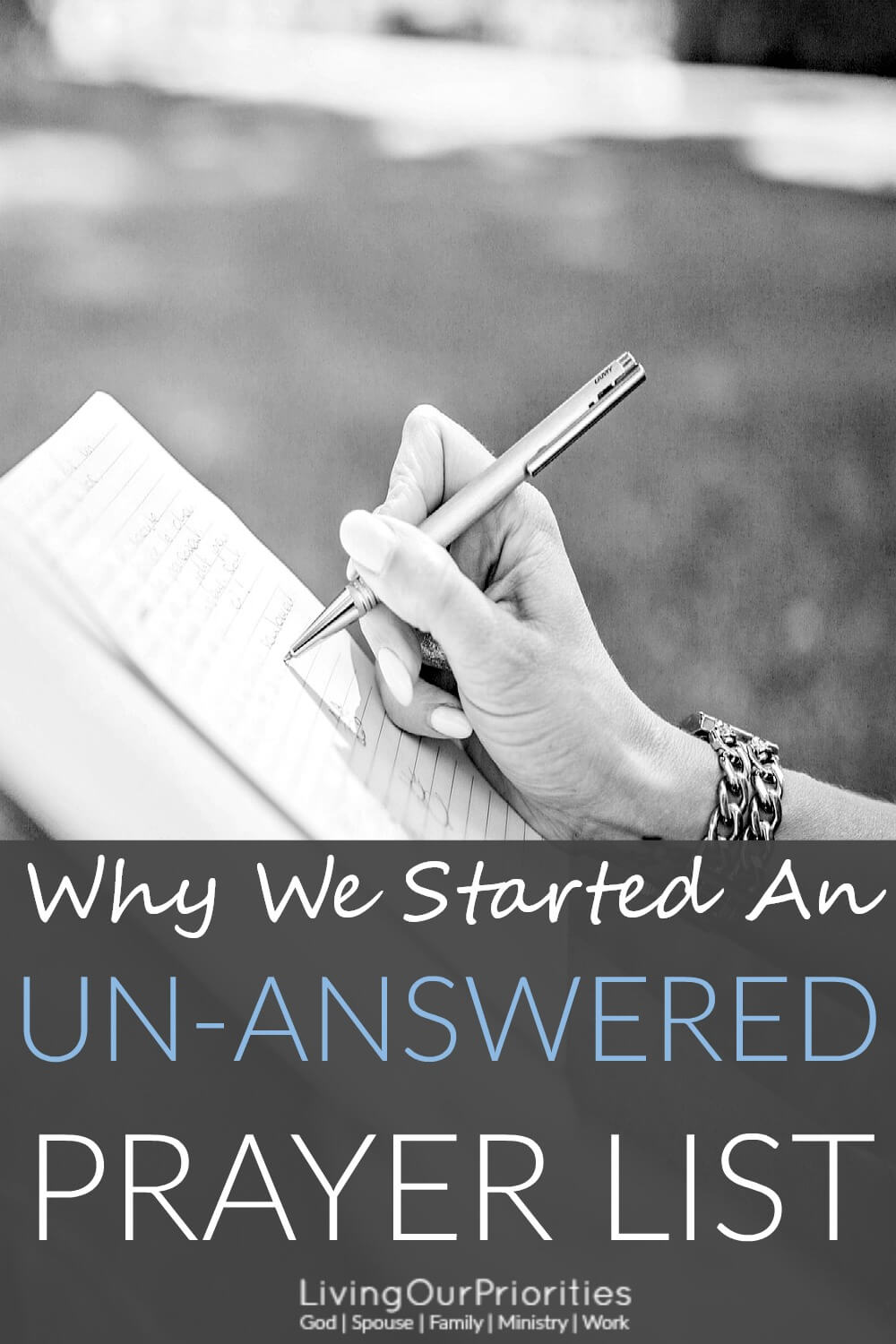 Why is it that we only journal about the prayers God answers? Aren't unanswered prayers, still answered prayers? This question caused us to start an un-answered prayer list. Read more to find out why.