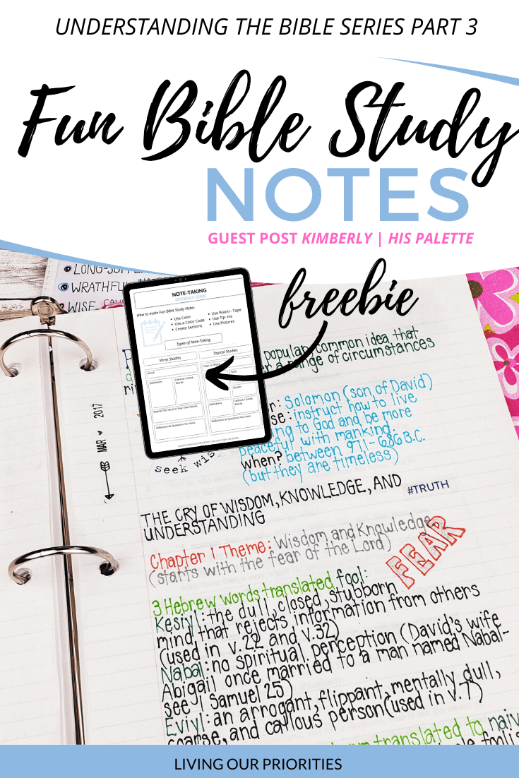 Are you tired of your same old Bible study notes? Learn how to add some pizzazz to your study and sermon notes, with a few simple tips! #biblestudynotes #freeprintable #livingourpriorities