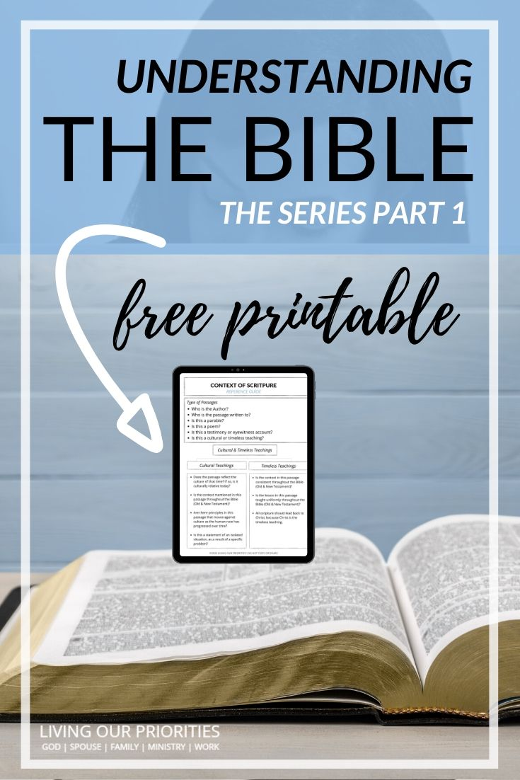 Learn how to read and understand the context of scripture. Free Printable Scripture Reference Guide. #contextofscripture #biblestudy #livingourpriorities