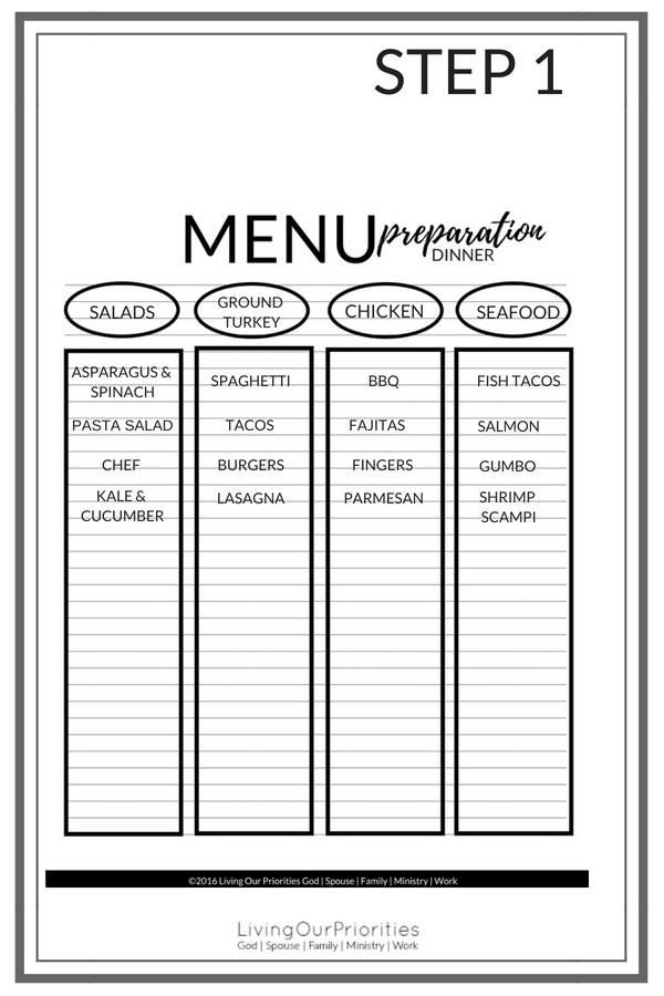 Do you feel like you make the same dishes all the time? I mean, if spaghetti is your go to dinner and on the menu every week, then this blog is for you. Learn how to plan meals for one month without repeating a meal in 4 simple steps! FREE PRINTABLE MEAL PLANNING GUIDE INCLUDED. #dinner #mealplanning #livingourpriorities