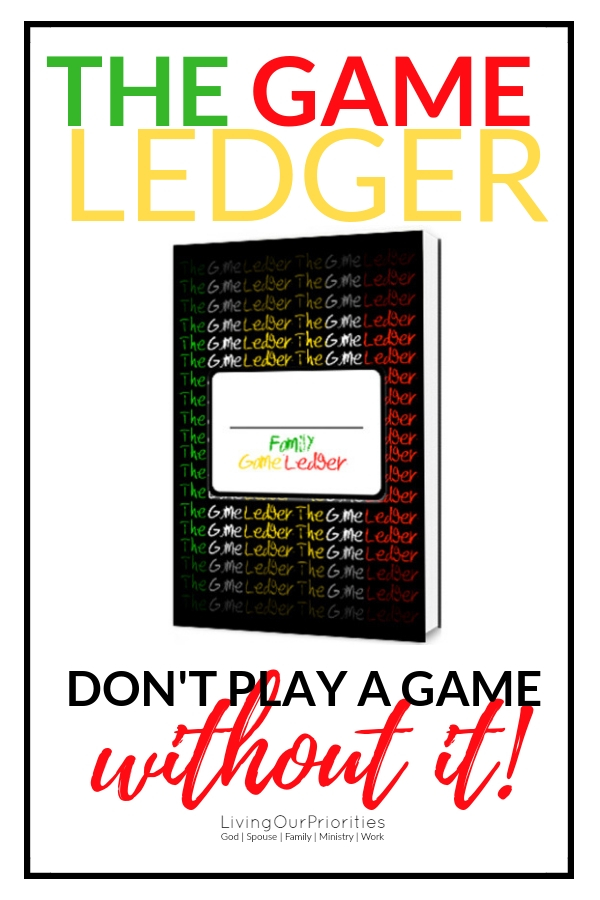 Having a Family Game Night? Now you can record every victory and defeat in one place! The Game Ledger- Don't play a game without it! #thegameledger #gamenight #familygamenight #gamenightideas #boardgames #familygames #familygamenightideas #funfamilygames #livingourpriorities