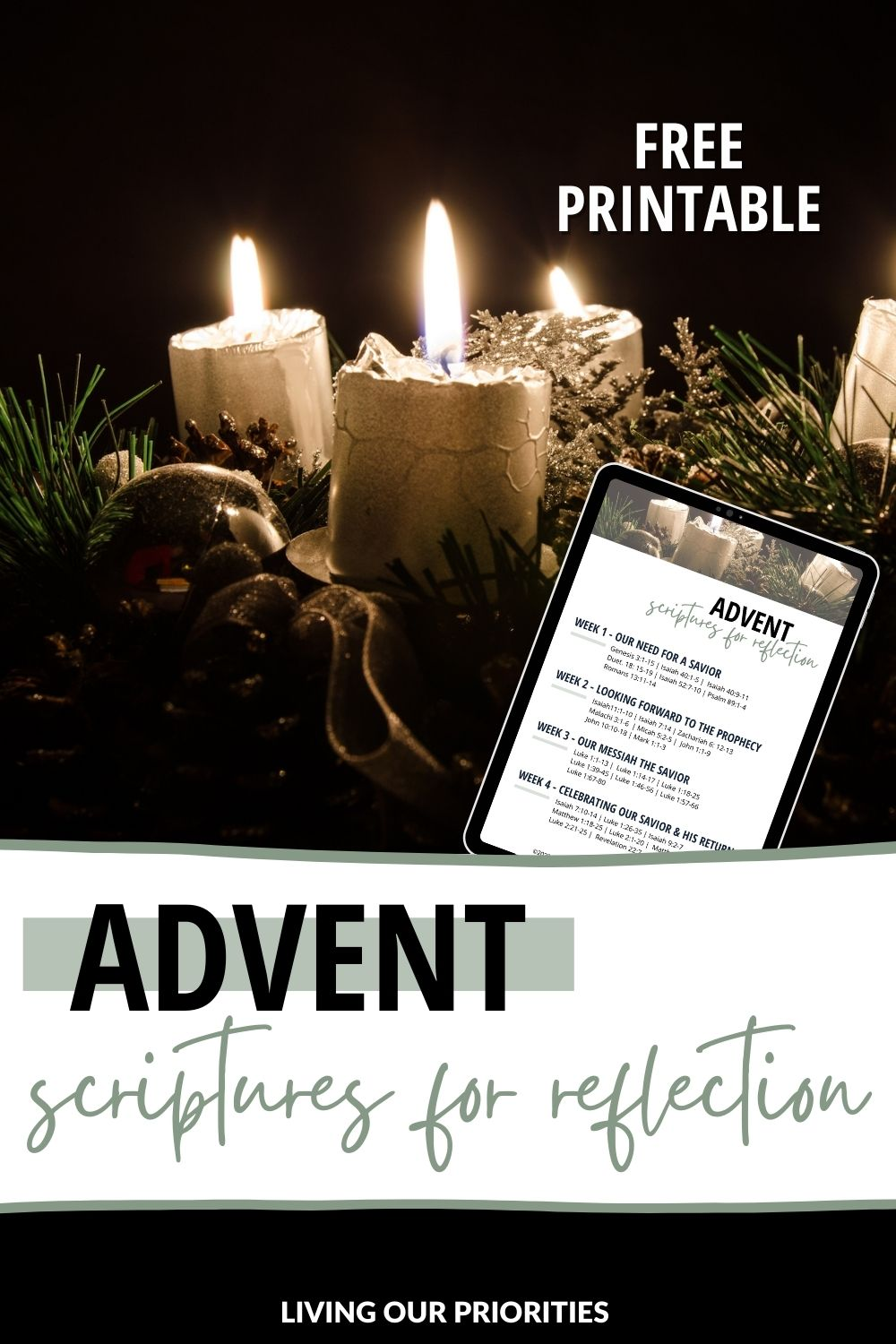 We can choose to keep Christ the center of Christmas through advent scriptures for reflection. #advent #livingourpriorities