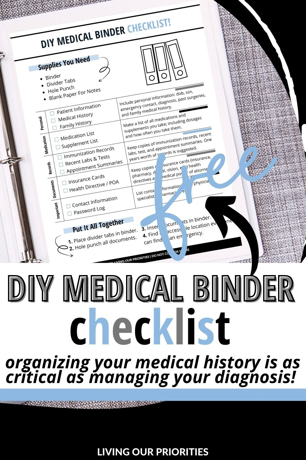 Organizing your medical history is as critical as managing your diagnosis. Learn how to create your own DIY Medical Binder to keep your peace and help save your life!