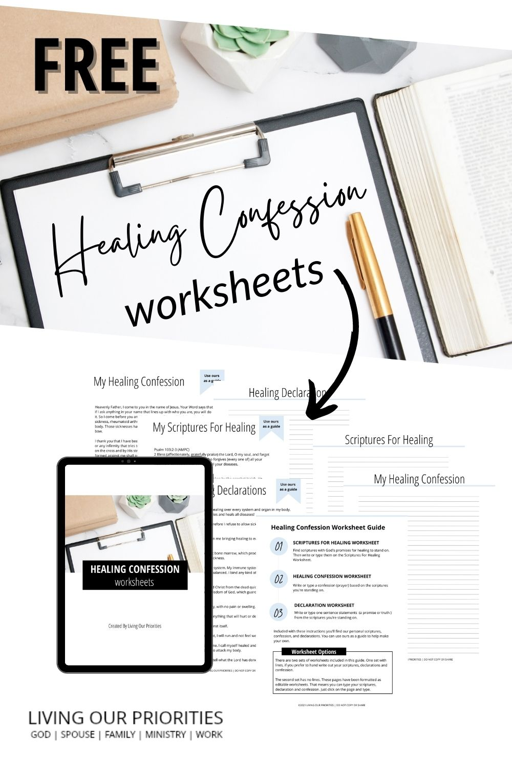 When I learned the healing process began in our spirit, I created a healing confession. Download the FREE Healing Confession Worksheets: healing scriptures, declarations and confession worksheets to declare over your body.