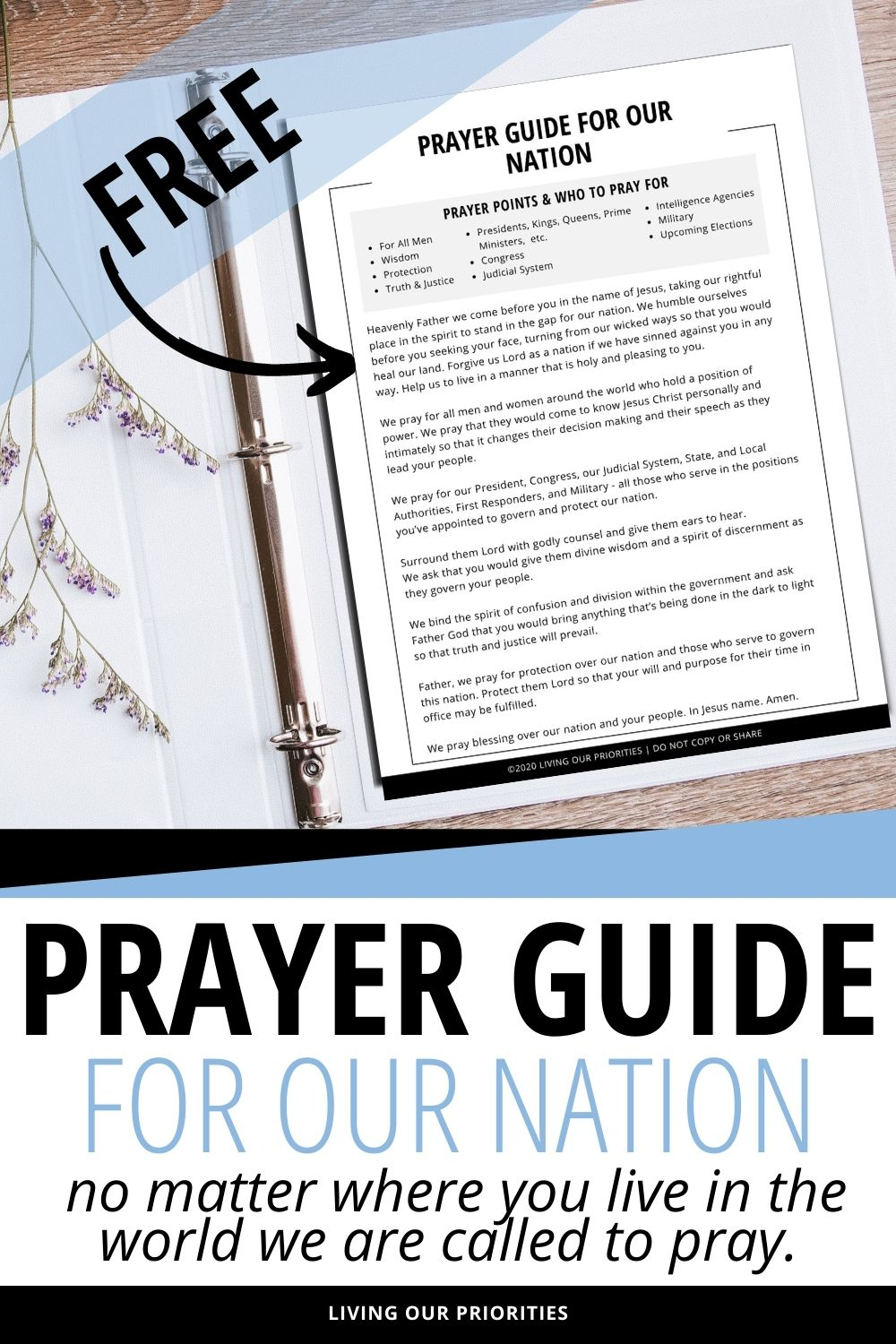 FREE prayer guide for our nation. #freeprintable #prayerguide #livingourpriorities