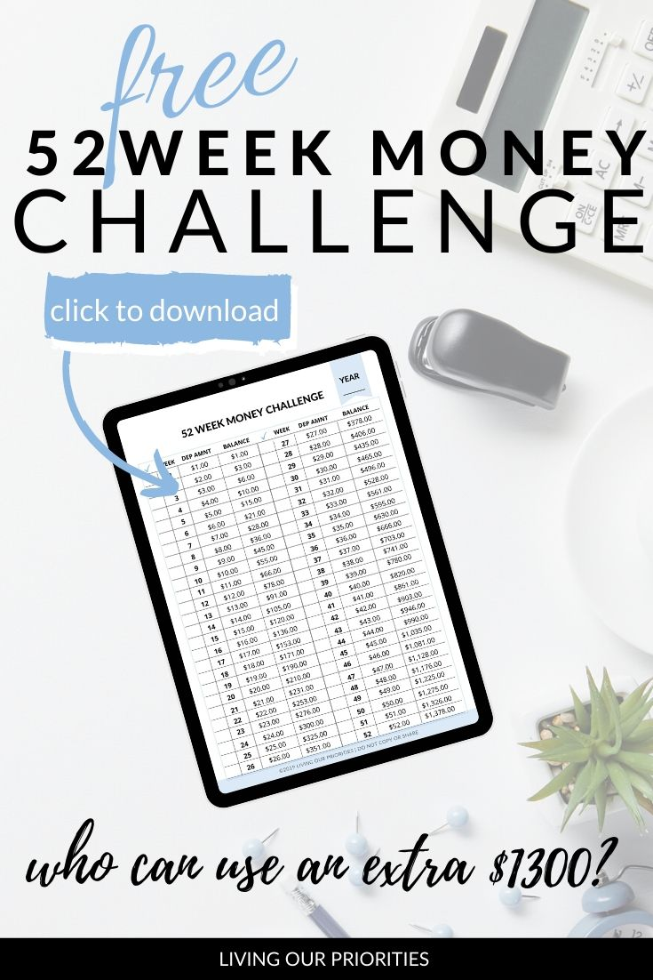 Savings Plan - 52 Week Money Challenge Free Printable